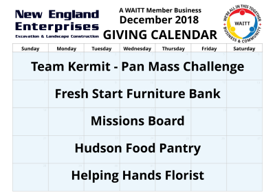new england enterprises december 2018 giving calendar