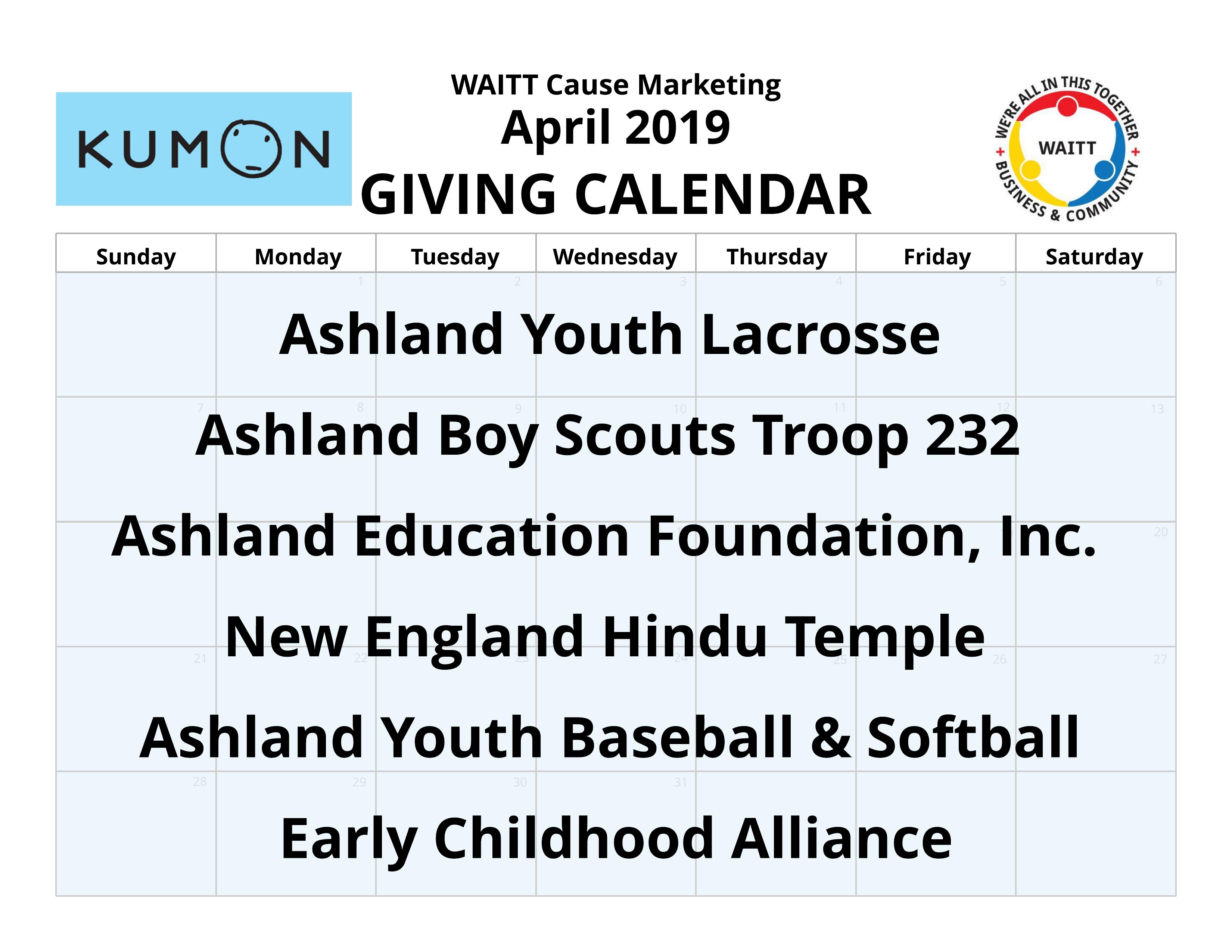 April 2019 Giving Calendars | WAITT Cause Marketing